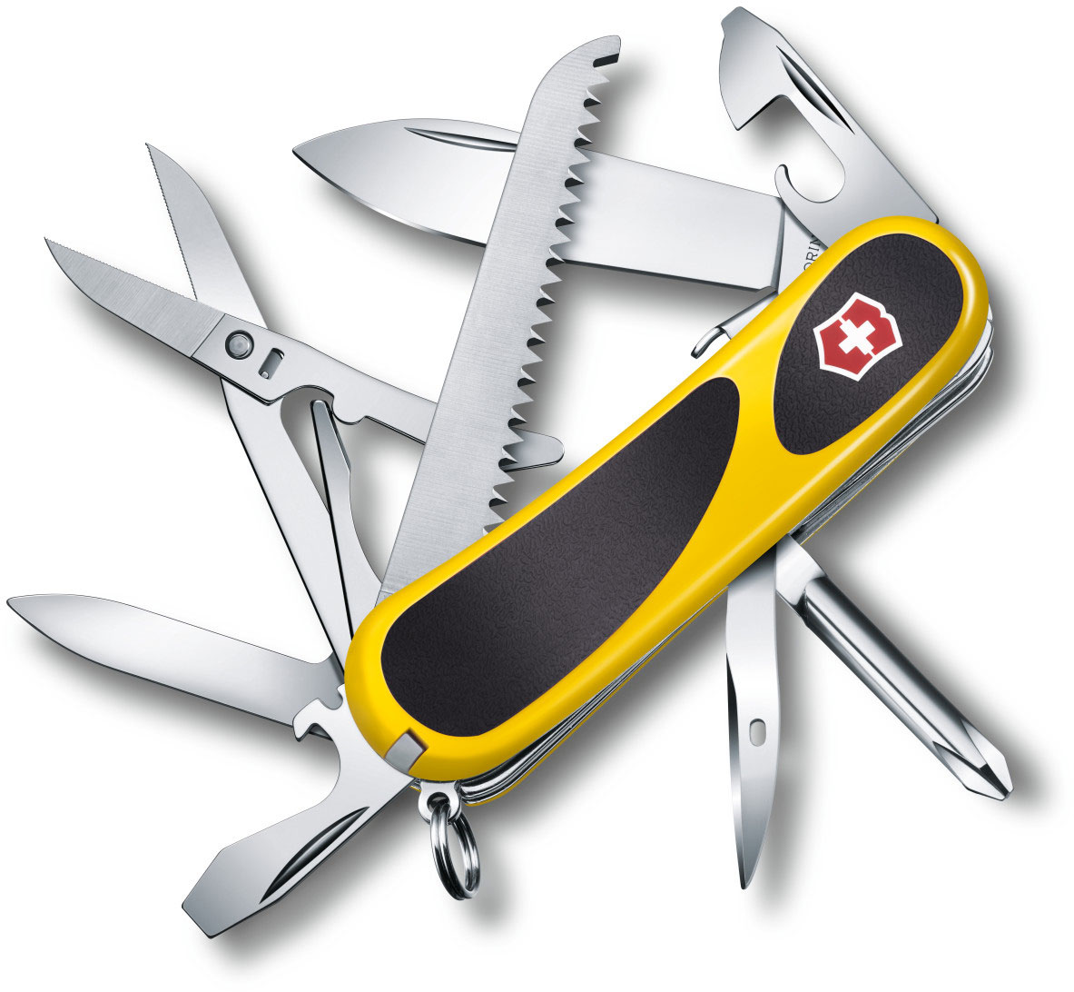 Victorinox Swiss Army Locking EvoGrip S18 Multi-Tool 3-3/8 inch Yellow Handles with Black Rubber Inserts