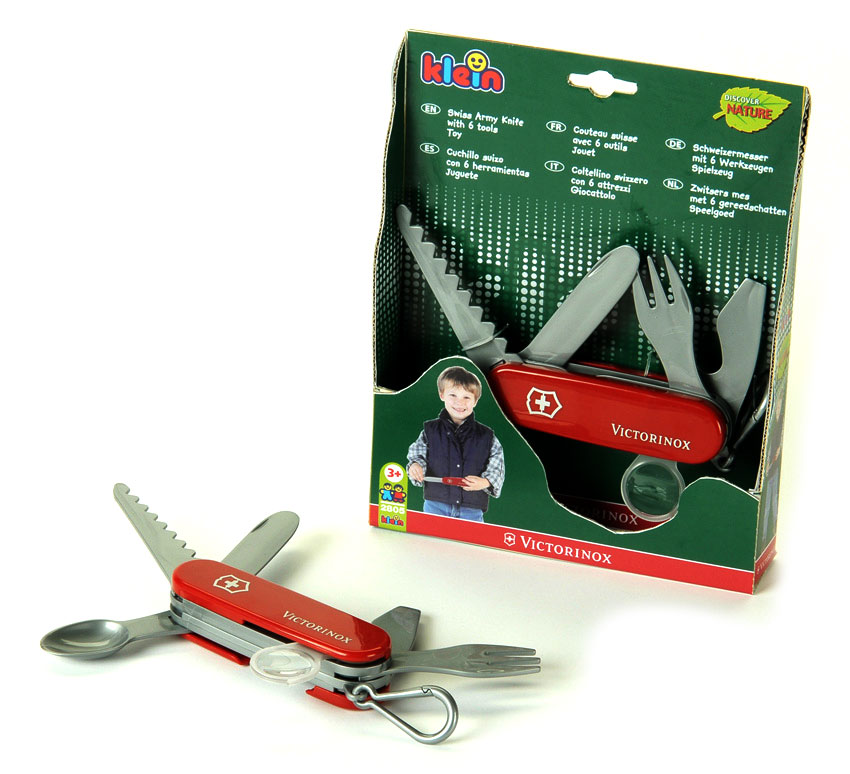 Toy Victorinox Swiss Army Knife by Theo Klein, Red Handles