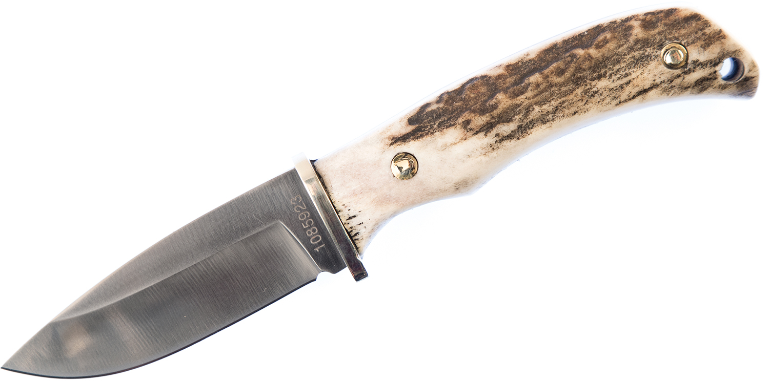 Schrade 2202UH Uncle Henry Hunting Knife Fixed Blade Knife 2.75 inch D2 Satin Drop Point Blade, Stag Horn Handles, Brown Leather Sheath