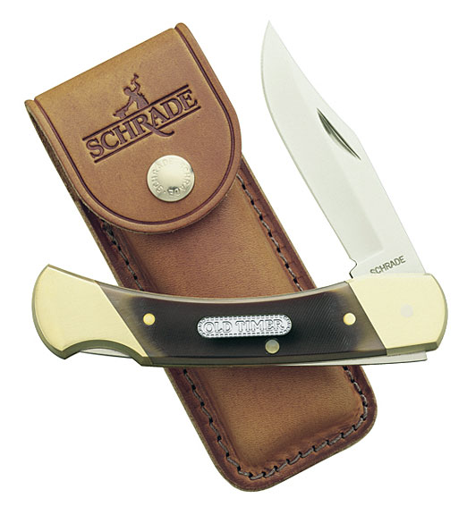 Schrade 7OT Old Timer Cave Bear Brown Sawcut Delrin Lockback Folder 5 inch Closed, Leather Sheath