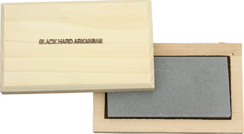 Black Hard Arkansas Whet Stone 4 inch x 2 inch x 1/2 inch, Cedar Storage Block