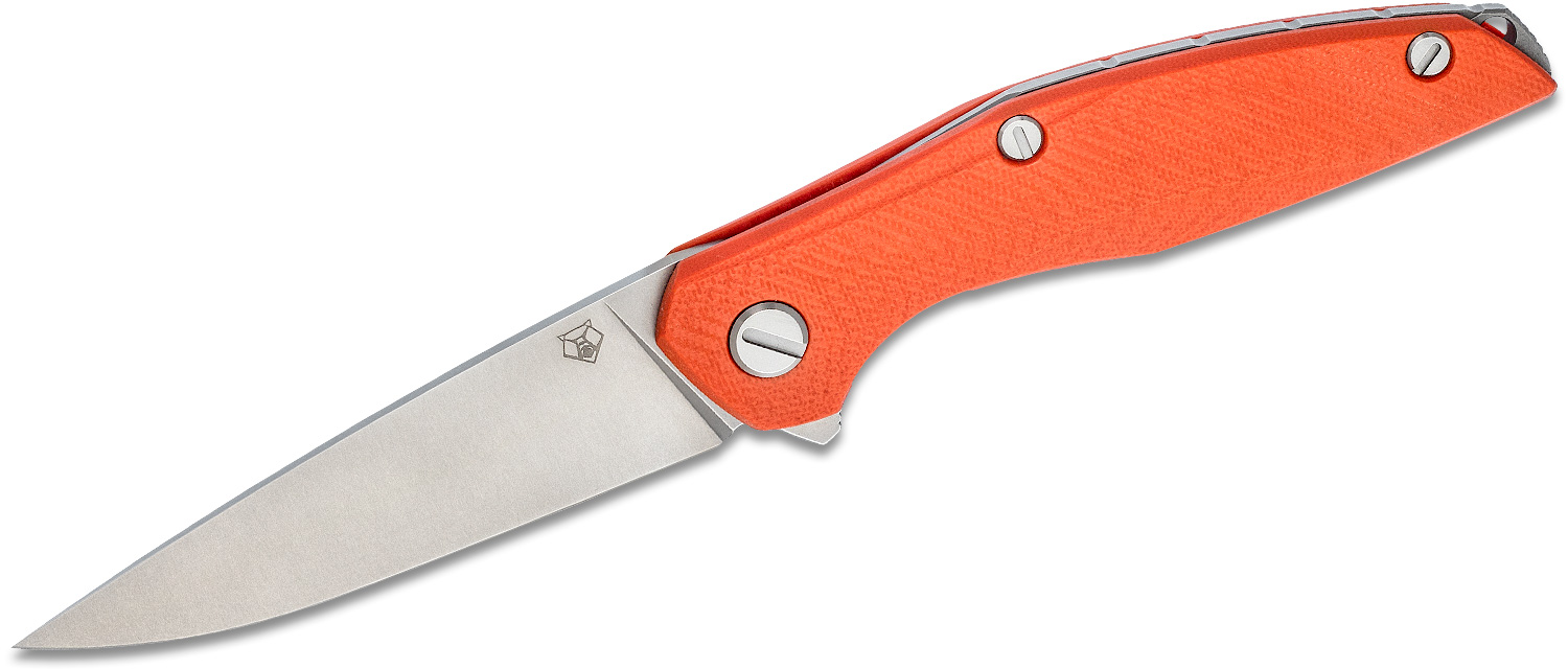Shirogorov Model 111 Flipper Knife 4.25 inch Elmax Drop Point Blade, Orange G10 Handles