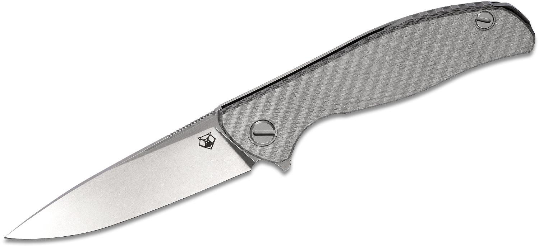 Shirogorov Hati R Flipper Knife 3.875 inch M390 Drop Point Blade, Milled Silver Alutex and Titanium Handles