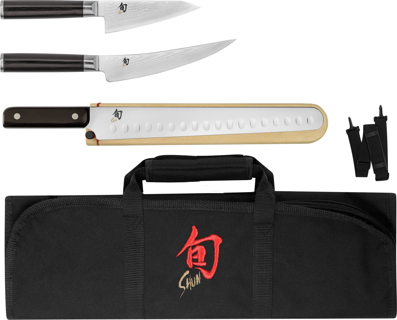 Shun DMS0450 Classic 4 Piece BBQ Set with DM8800 Knife Roll, Pakkawood Handles