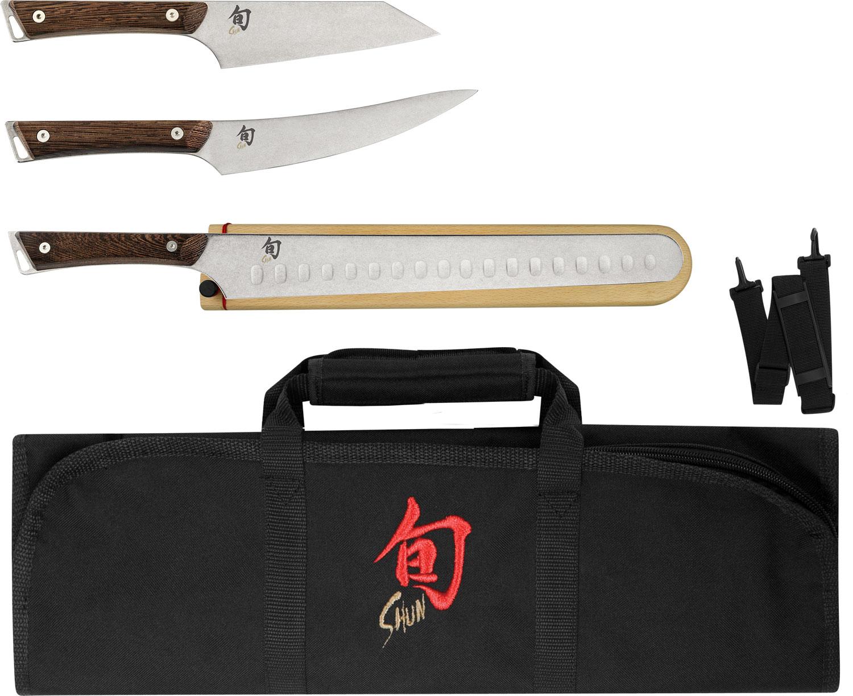 Shun SWTS0450 Kanso 4 Piece BBQ Set with DM8800 Knife Roll, Tagayasan Wood Handles