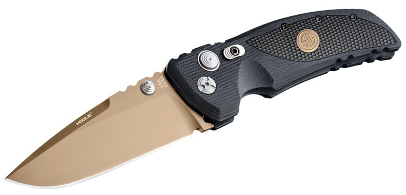 SIG Sauer by Hogue Elishewitz EX-01 SIG Emperor Scorpion Manual Folding Knife 3.5 inch 154CM FDE Plain Drop Point Blade, Black G10 Handles