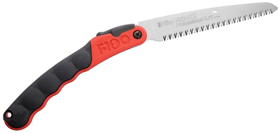 Silky Saws F180 Folding Saw, 7.1 inch Straight Blade, Rubber/Red Polypropylene Handle
