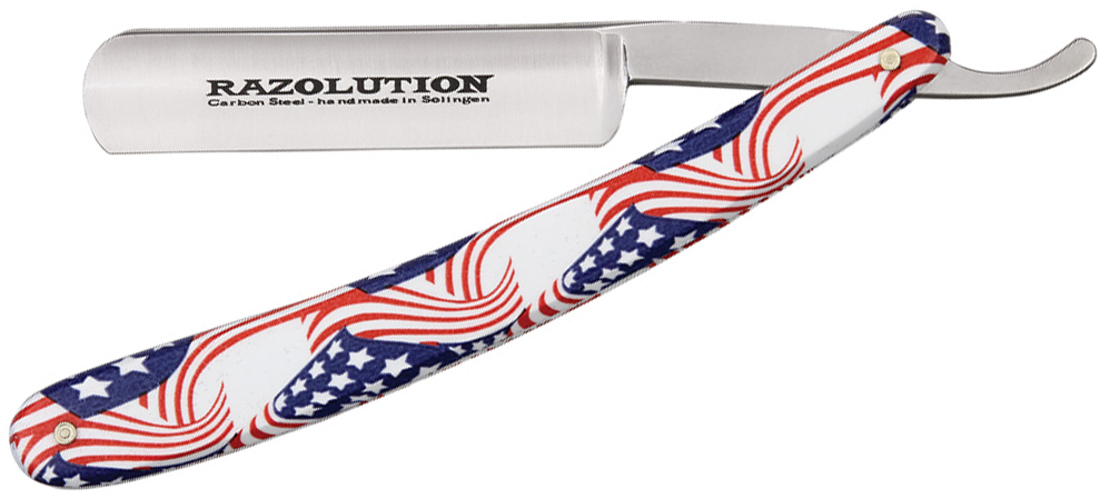 Simba Tec RAZOLUTION Straight Razor, 5/8 inch Carbon Steel, Stars and Stripes Synthetic Handle