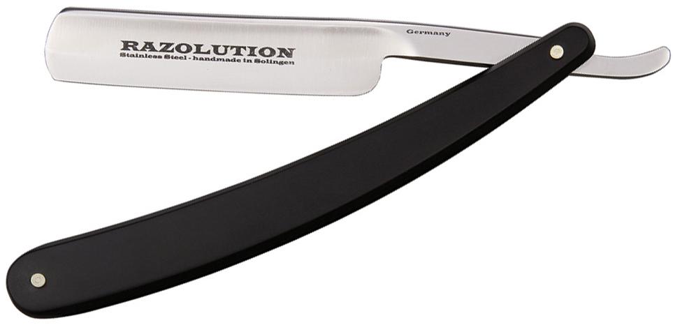 Simba Tec RAZOLUTION Straight Razor, 5/8 inch Stainless Steel, Black Synthetic Handle