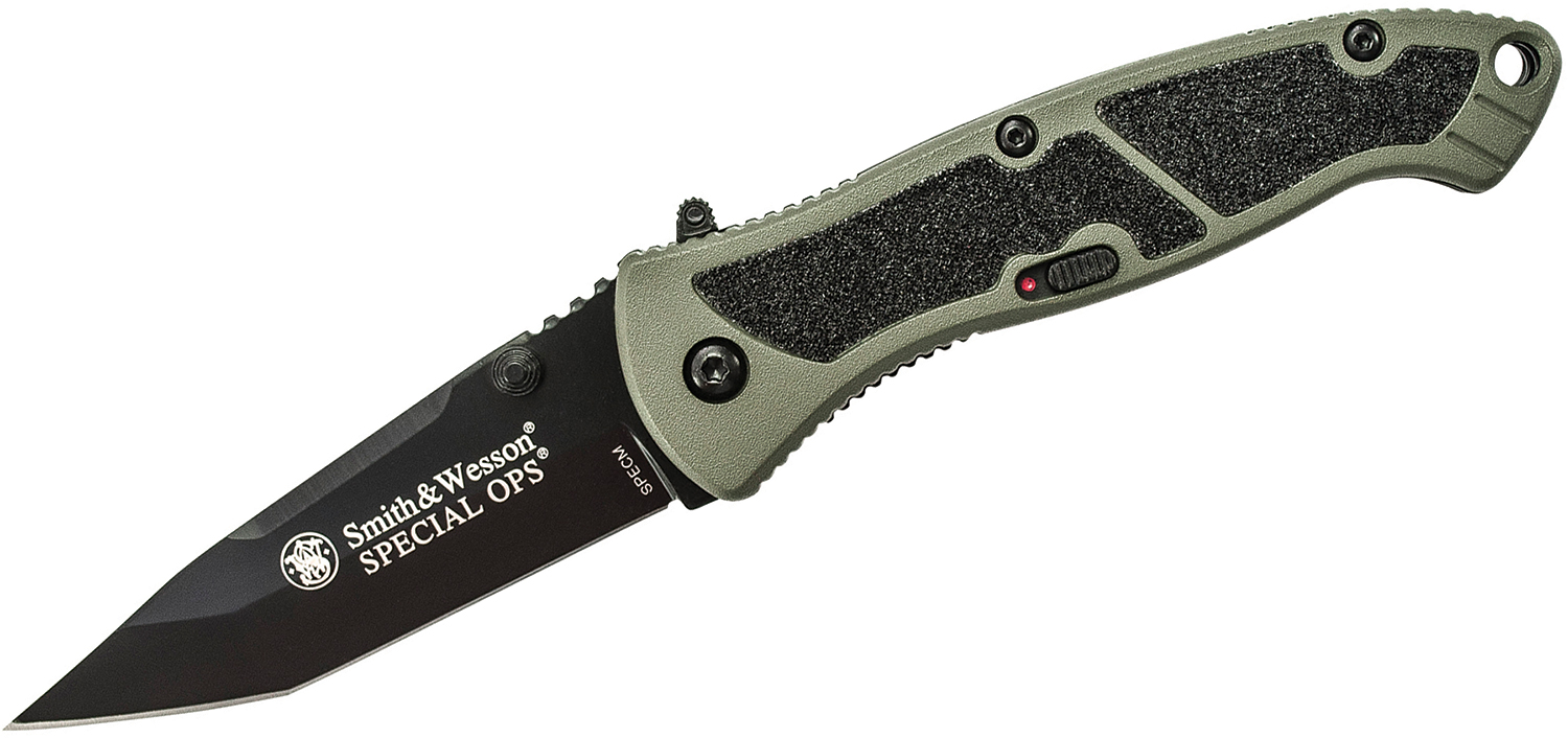 Smith & Wesson Medium Special Ops Assisted Folding Knife 3.1 inch Black Plain Tanto Blade, Green Aluminum Handles with Grip Tape Inserts