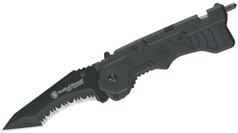 Smith & Wesson First Response Rescue 3.4 inch Assisted Tanto Black Combo Blade, Glass Breaker