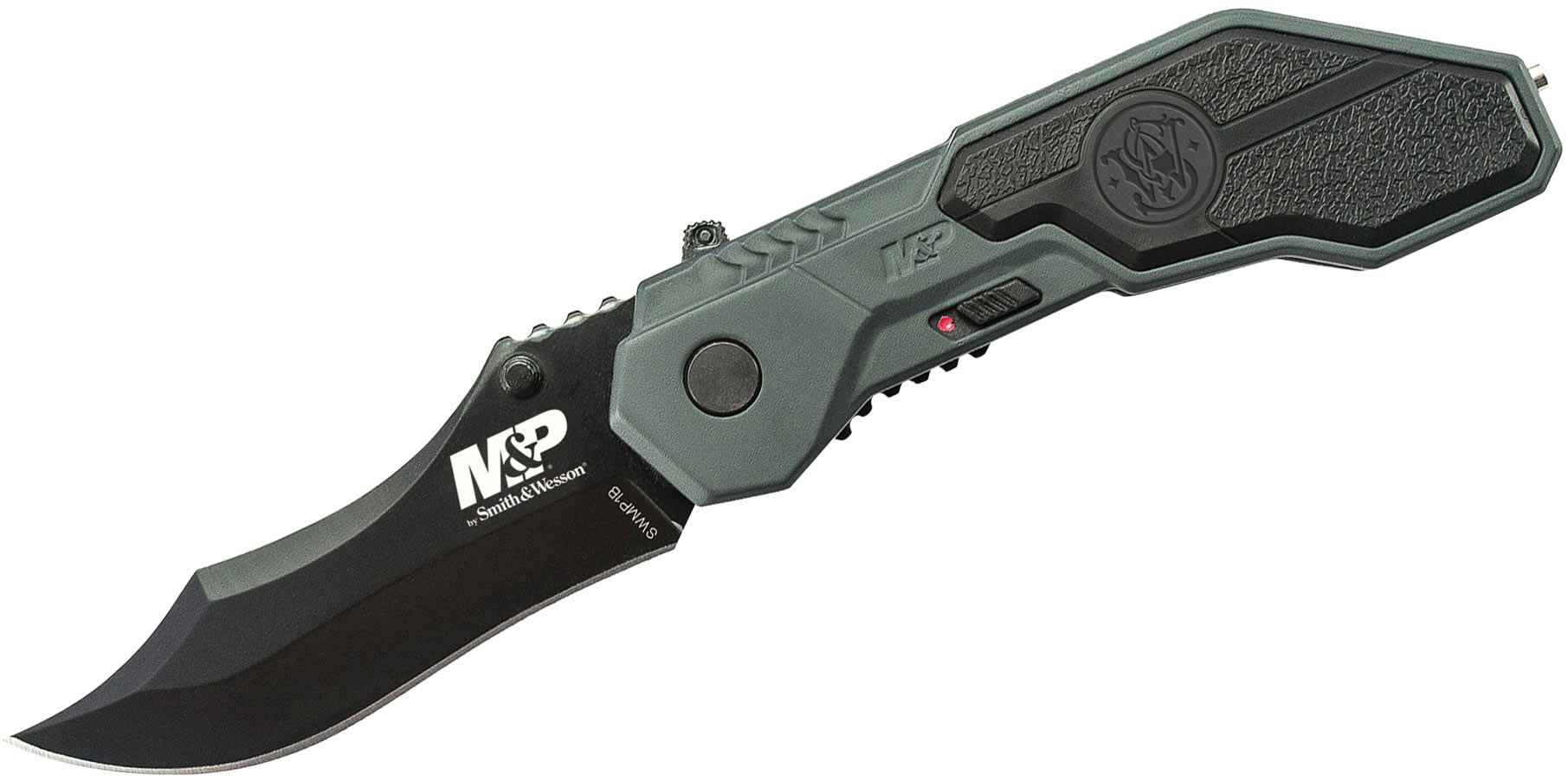 Smith & Wesson SWMP1B M&P MAGIC Assisted Flipper 2.9 inch Black Plain Blade, Gray Aluminum Handles with Rubber Inlays