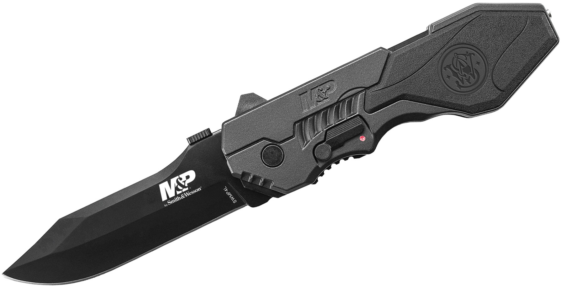 Smith & Wesson SWMP4L M&P MAGIC Assisted Flipper 3.6 inch Black Plain Blade, Black Aluminum Handles with Rubber Inlay