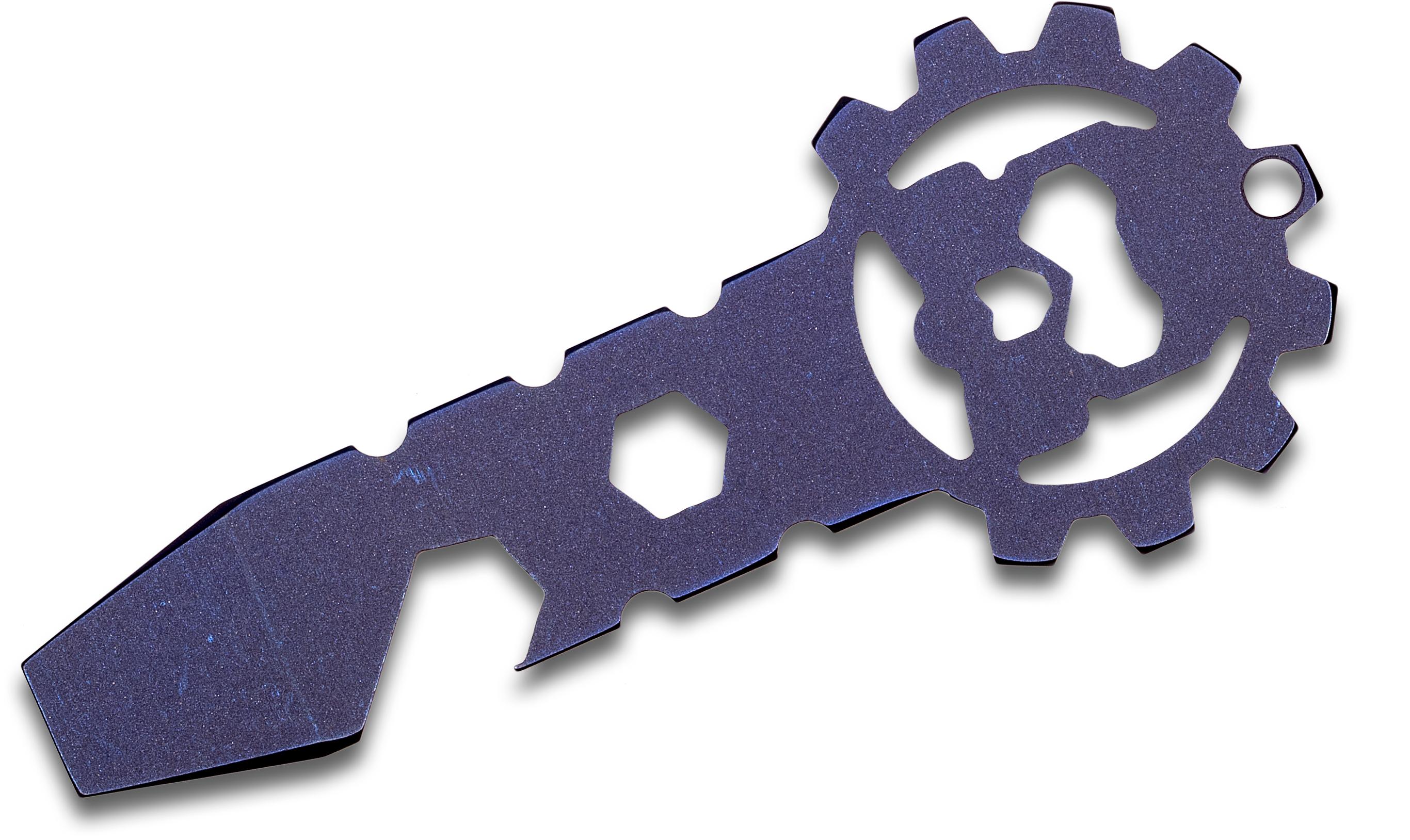 Smock Knives SmocKey Titanium Keychain Pocket Tool, Blue Anodized, 3.25 inch Overall
