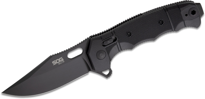 SOG SEAL XR Flipper Knife 3.9 inch Black TiNi S35VN Clip Point Blade, Black GRN Handles - XR Lock