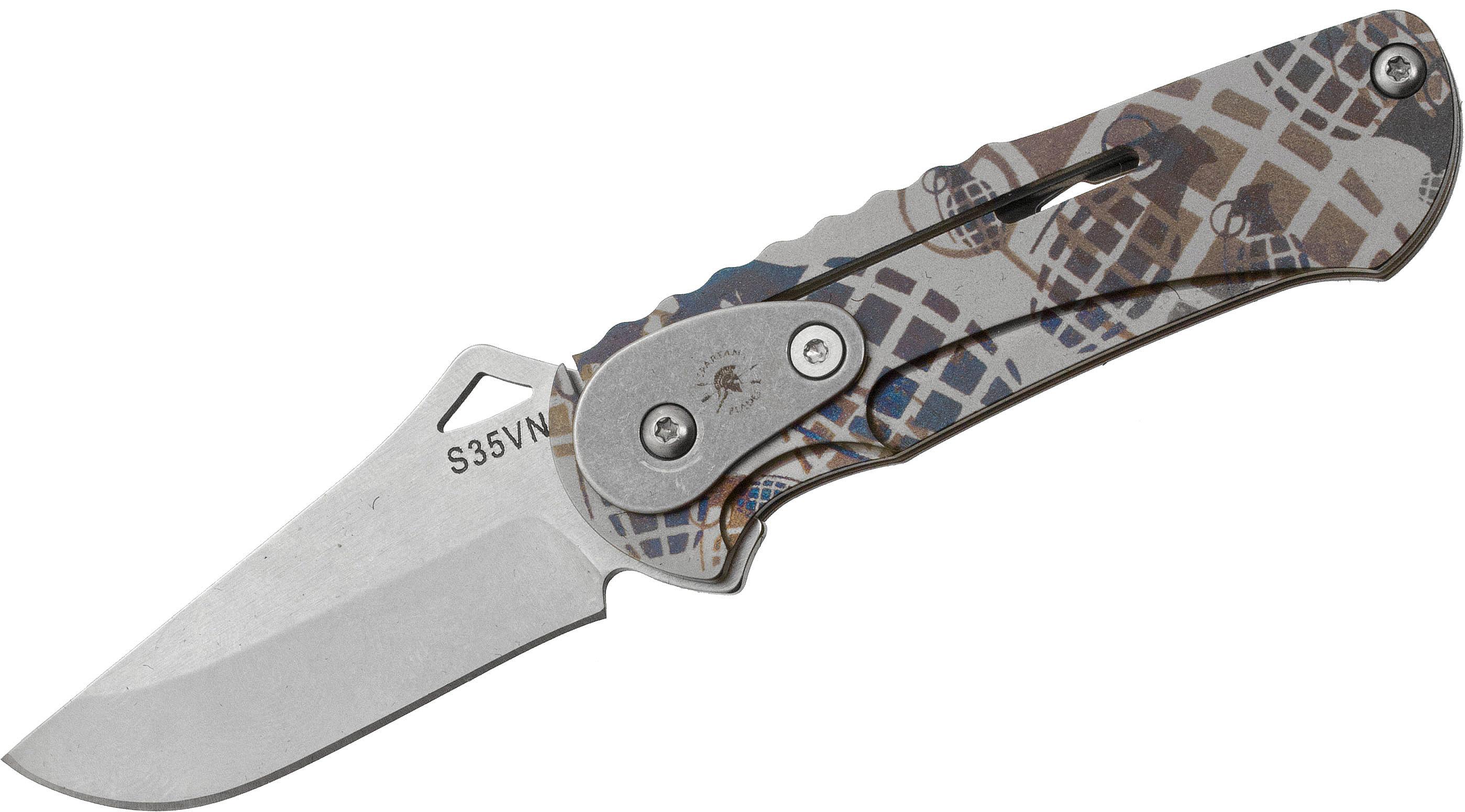 Spartan Blades Customized Nymph Integral Frame Mini Slipjoint Folder 1-7/8 inch S35VN Stonewash Blade, Grenade Titanium Handles