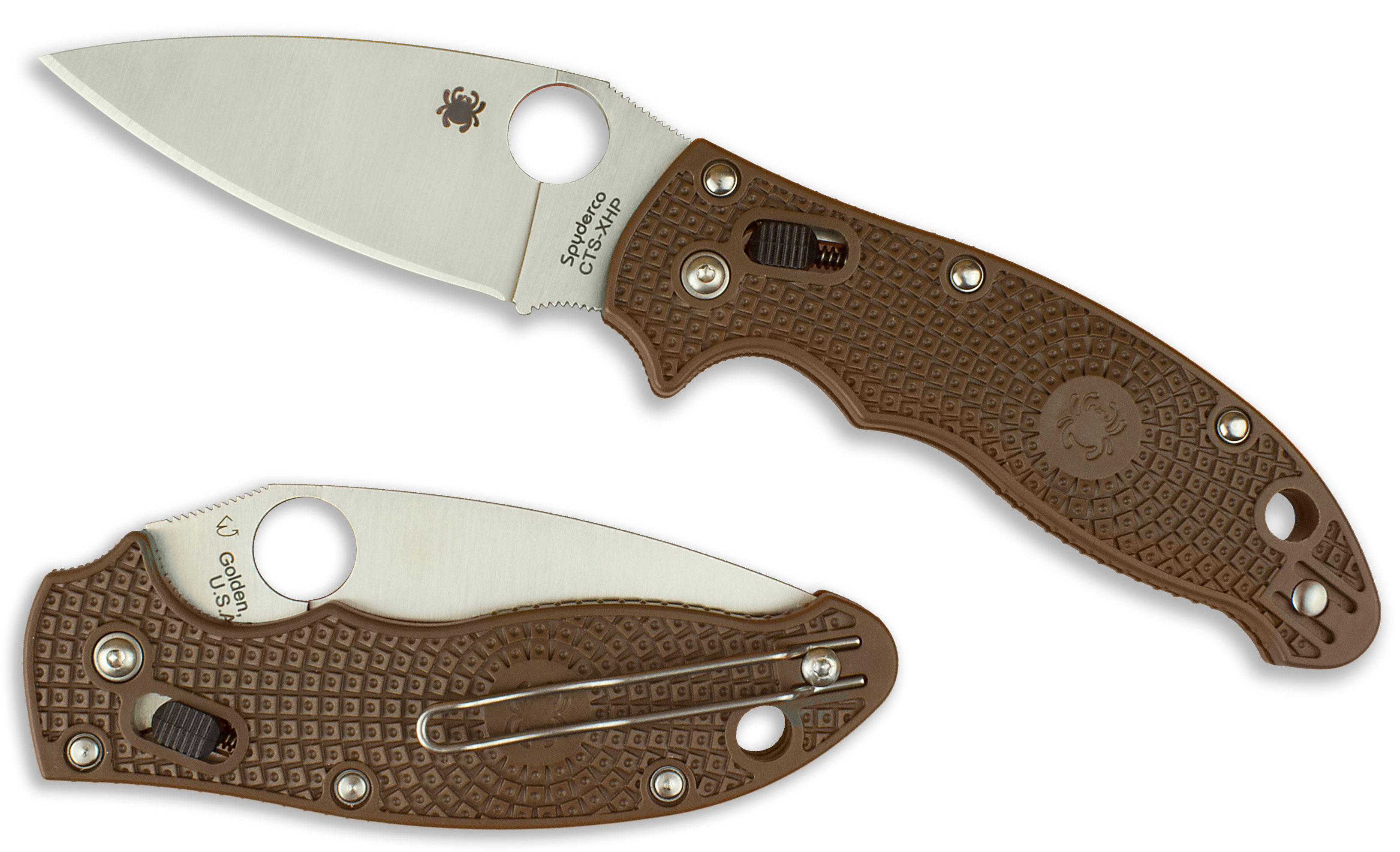Spyderco C101PBN2 Manix 2 Lightweight Folding Knife 3.37 inch Satin Plain CTS-XHP Blade, Brown FRN Handles - KnifeCenter Exclusive