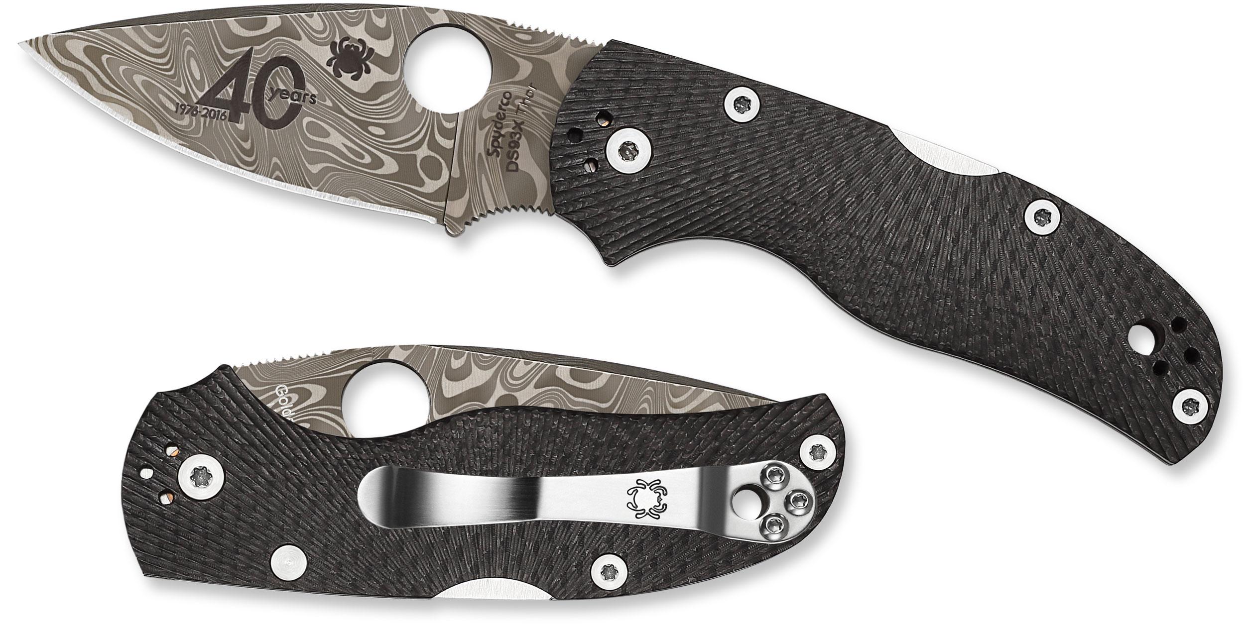 Spyderco C41CF40TH 40th Anniversary Native 5 Folding Knife 2.98 inch Damasteel Blade, Fluted Carbon Fiber Handles, Sprint Run