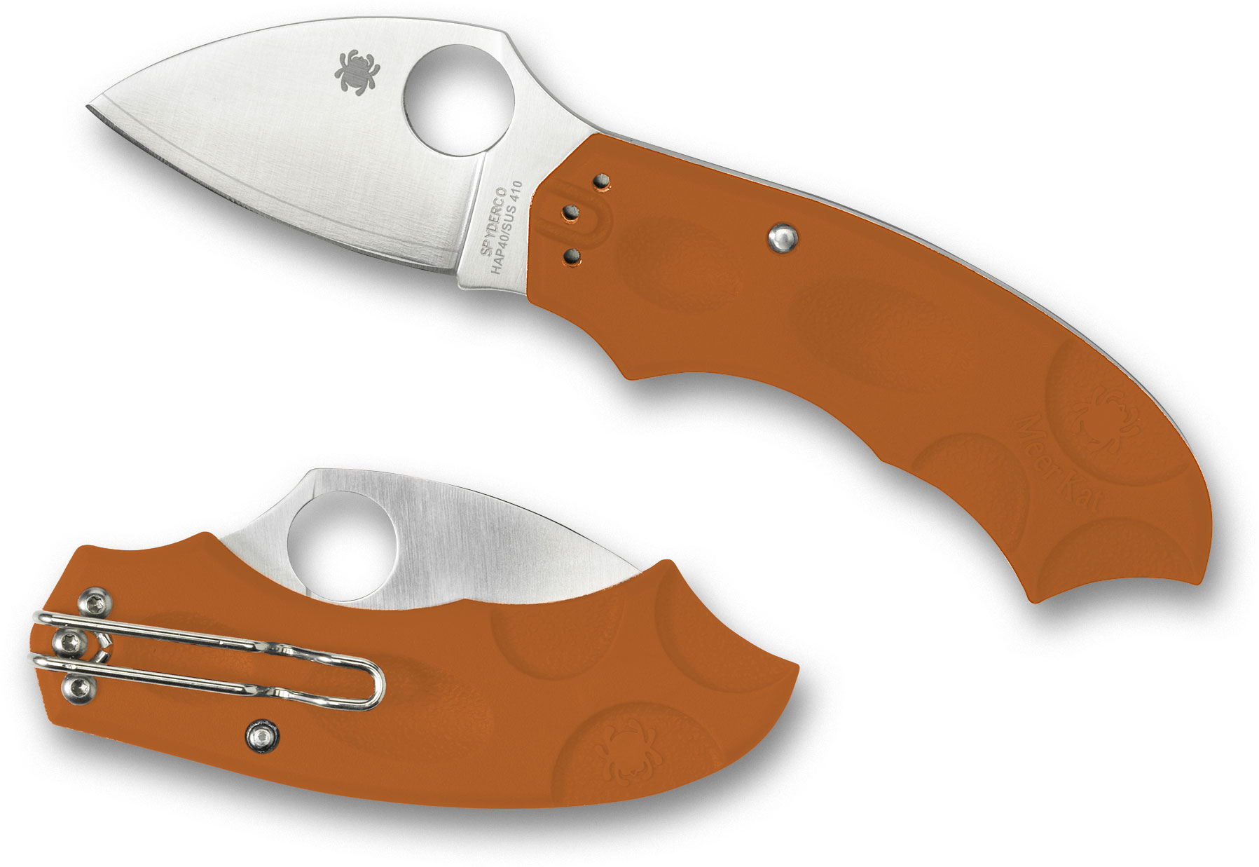 Spyderco C64JPBORE Meerkat Folding Knife 2 inch HAP40/SUS410 Satin Plain Blade, Orange FRN Handles, Sprint Run