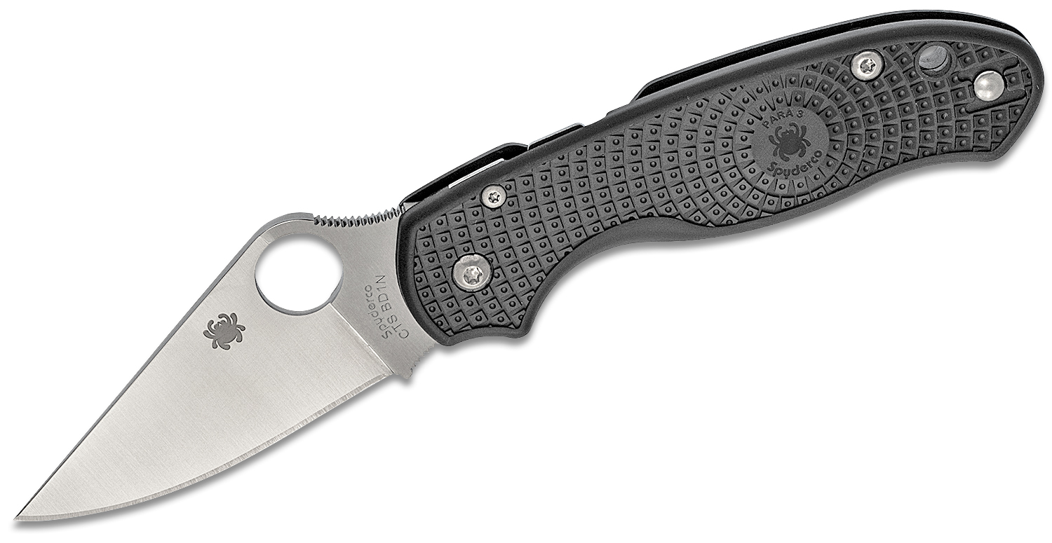 Spyderco Para 3 Lightweight Folding Knife 2.92 inch CTS-BD1N Satin Plain Blade, Black FRN Handles (Paramilitary 3)