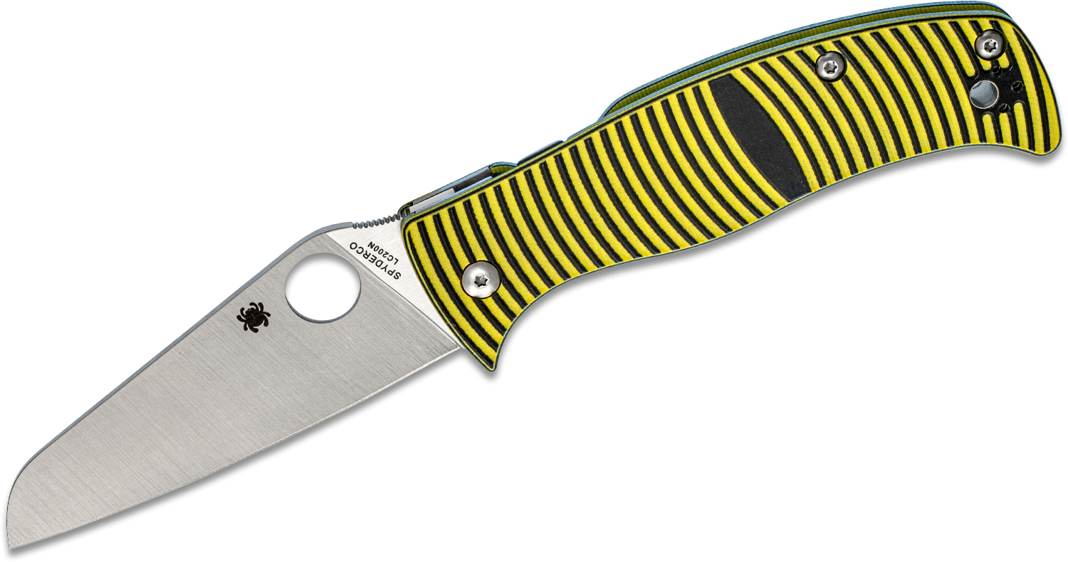 Spyderco Caribbean Folding Knife 3.7 inch Rustproof LC200N Sheepsfoot Plain Blade, 3D Machined G10 Handles