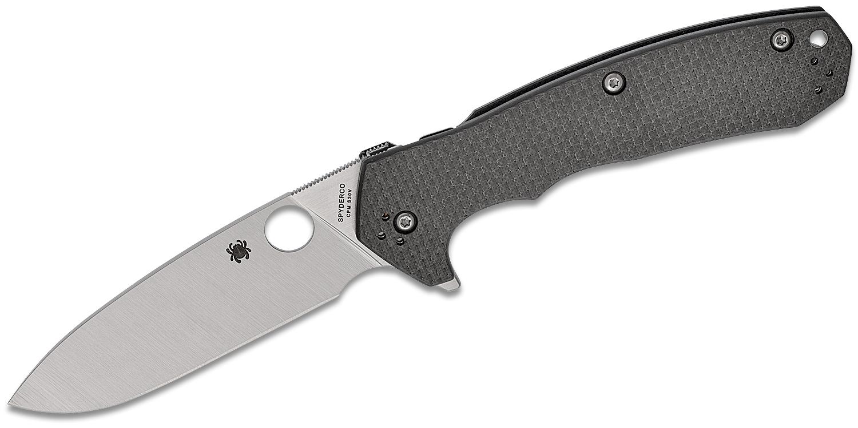 Spyderco Brian Lai Amalgam Flipper Knife 3.8 inch S30V Satin Plain Blade, Carbon Fiber/G10 Laminate Handles