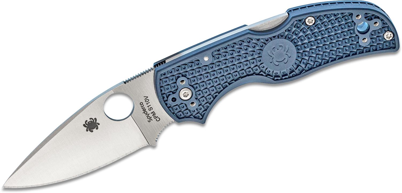 Spyderco Native 5 Folding Knife 3 inch S110V Satin Plain Blade, Dark Blue FRN Handles