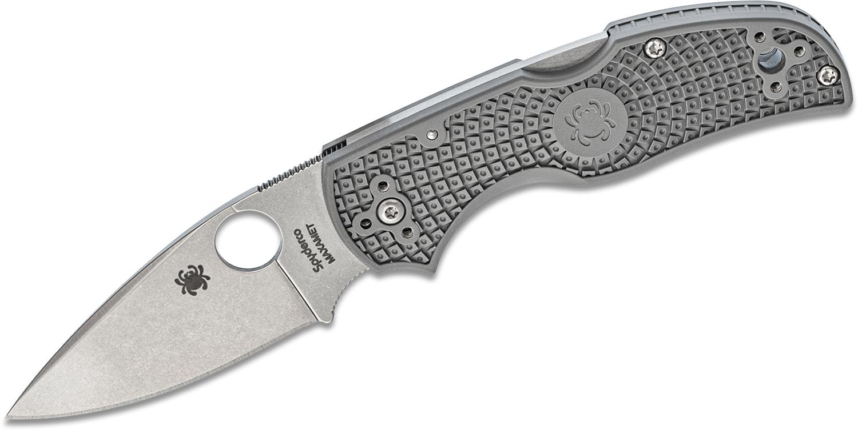 Spyderco Native 5 Lightweight Folding Knife 2.95 inch Maxamet Satin Plain Blade, Gray FRN Handles