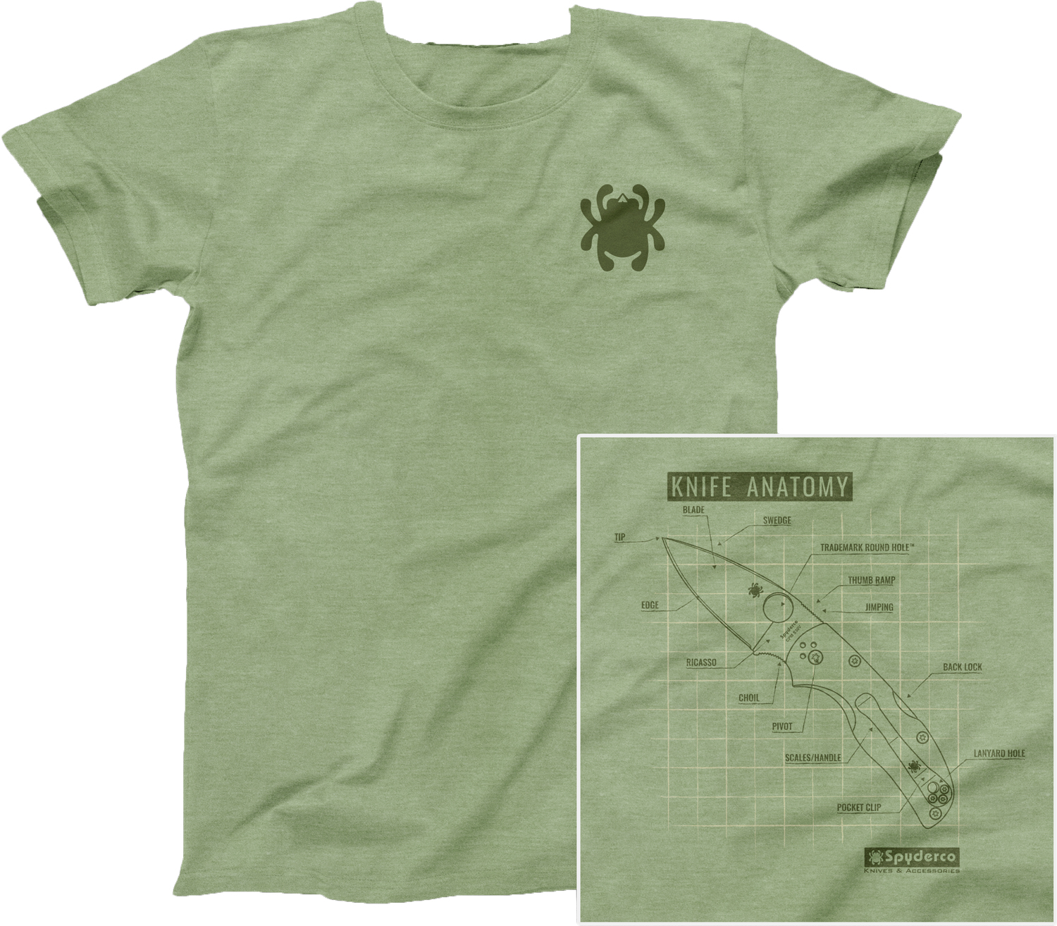 Spyderco Knife Anatomy Unisex T-Shirt, Heather Green, XXL