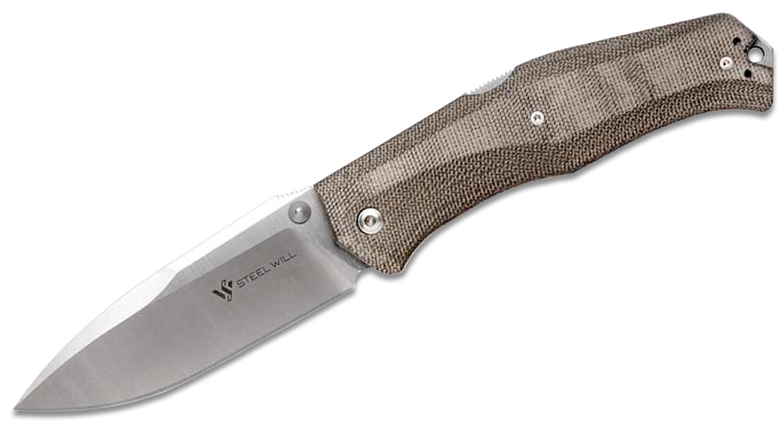 Steel Will Gekko 1500 Folding Knife 3.94 inch N690Co Drop Point Blade, Coyote Micarta Handles