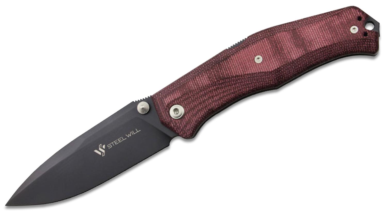 Steel Will Gekko Mini 1555 Folding Knife 3.5 inch Black PVD D2 Plain Blade, Maroon Micarta Handles