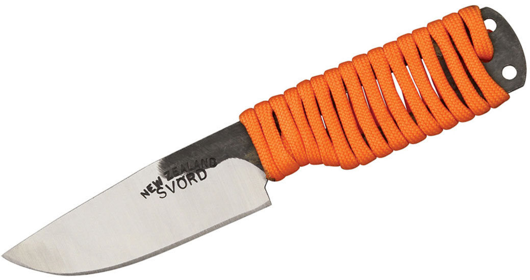 Svord Every Day Carry Fixed 3 inch Carbon Steel Blade, Orange Paracord Handle, Polyurethane Sheath