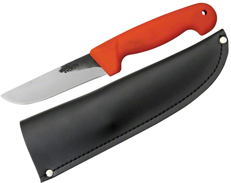 Svord Kiwi General Outdoors Knife 4-3/4 inch Carbon Steel Blade, Orange Polypropylene Handle, Leather Sheath
