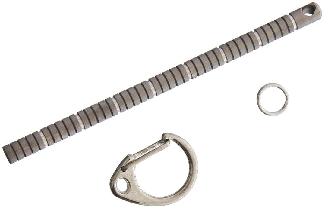 TEC Accessories Centipede Metric Keychain Ruler/Kubaton, Titanium