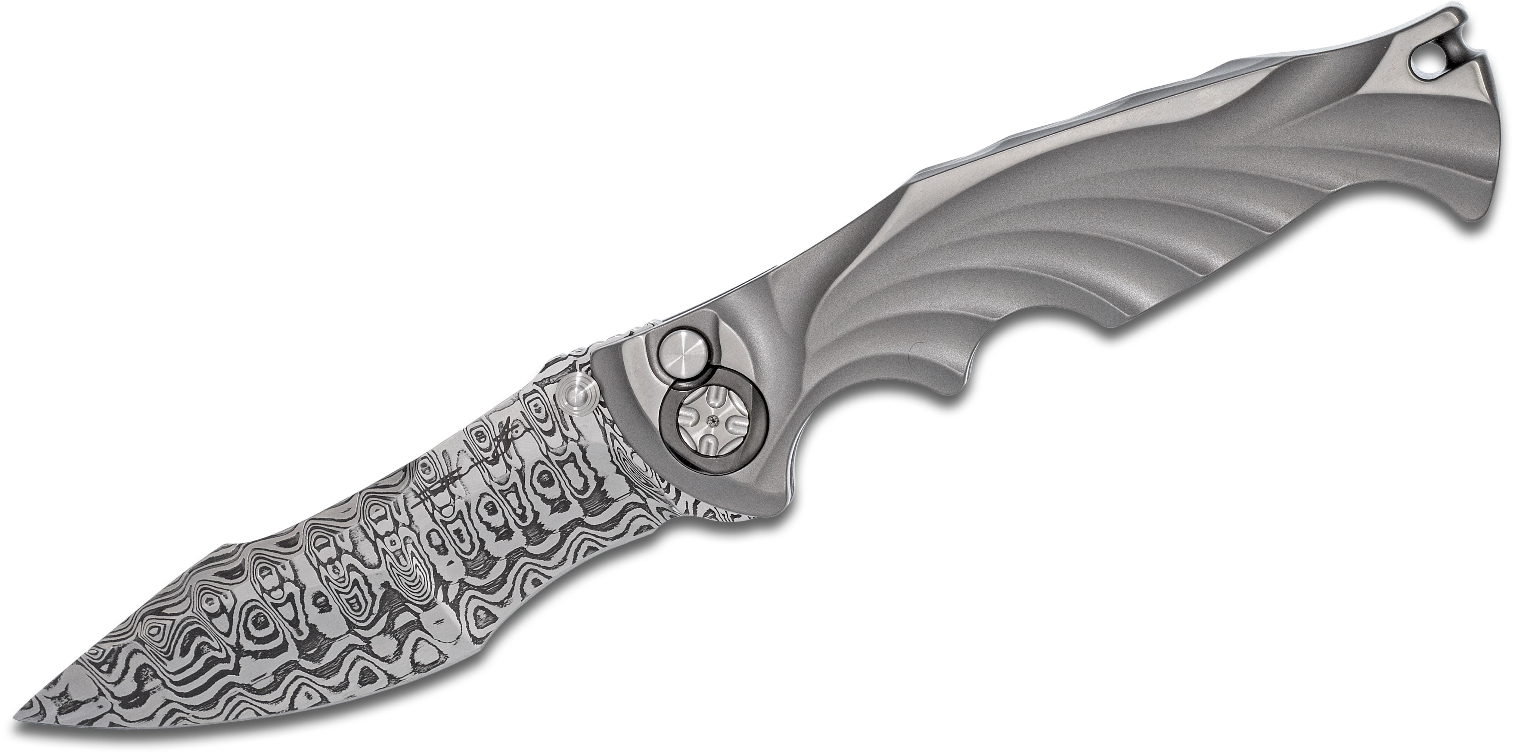 Brian Tighe Custom Integral Breaker Automatic 3.875 inch Damasteel Recurve Blade, Single Piece Titanium Handle, Zirconium Collars and Clip