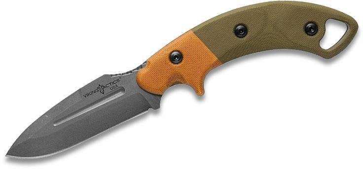 TOPS Knives VTAC Viking Tactics The Crusader Fixed Blade Knife 3.63 inch 1095 Acid Rain Drop Point, OD Green/Tan Micarta Handle, Coyote Tan Kydex Sheath