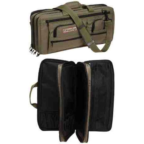 The Ultimate Edge EDOL Deluxe 18 Piece Knife Case, 5 Exterior Pockets, Olive