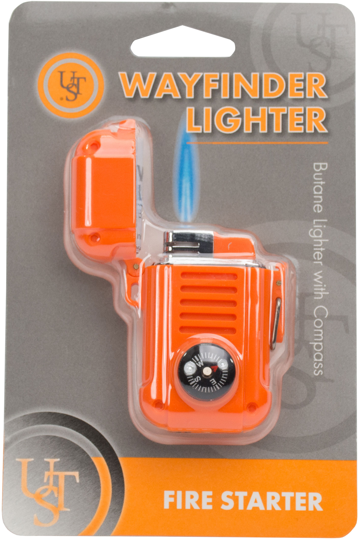 UST Ultimate Survival Wayfinder Butane Lighter with Compass, Orange