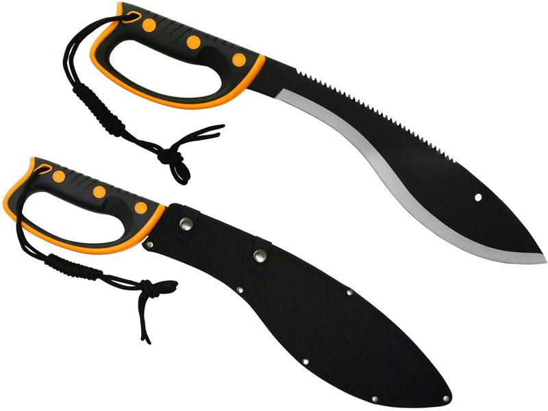 United Cutlery Survival Kukri Sawback Machete 14-3/4 inch Sawback Blade, Yellow Handguard, Nylon Sheath
