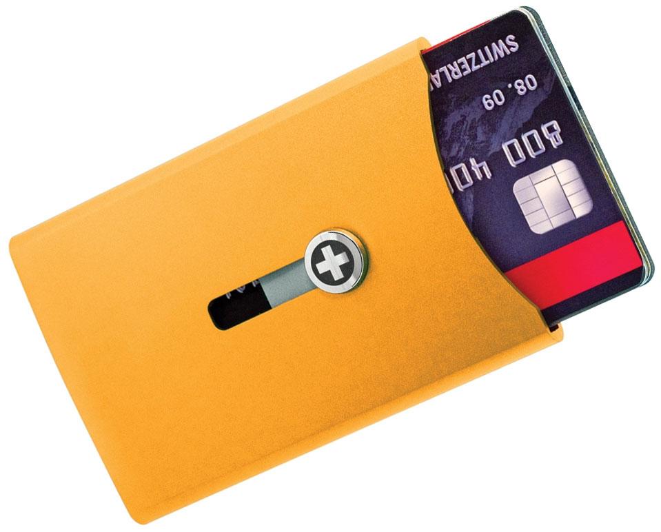 Wagner Super Slim Swiss Wallet with Money Clip, Orange Anodized Aluminum