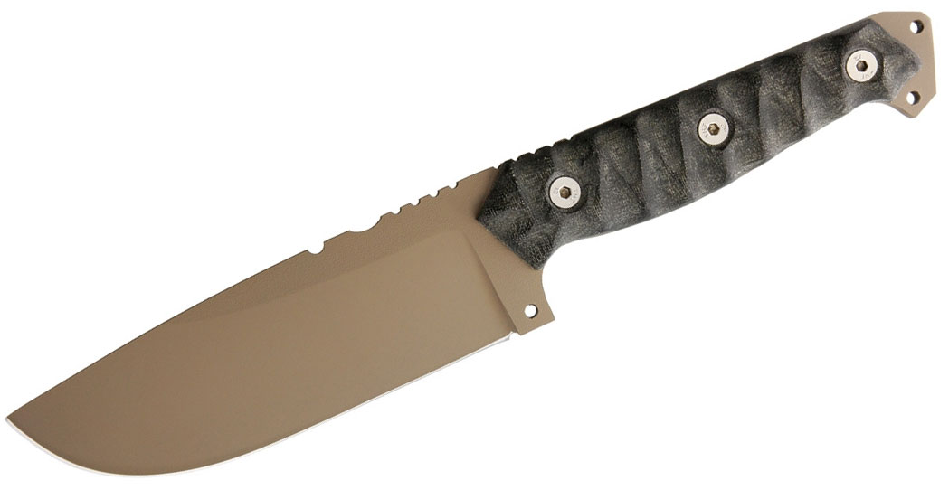 Wander Tactical Megalodon 1.0 Fixed 5.7 inch Dark Earth D2 Blade, Black Micarta Handles, Thermo-Molded Polymer Sheath