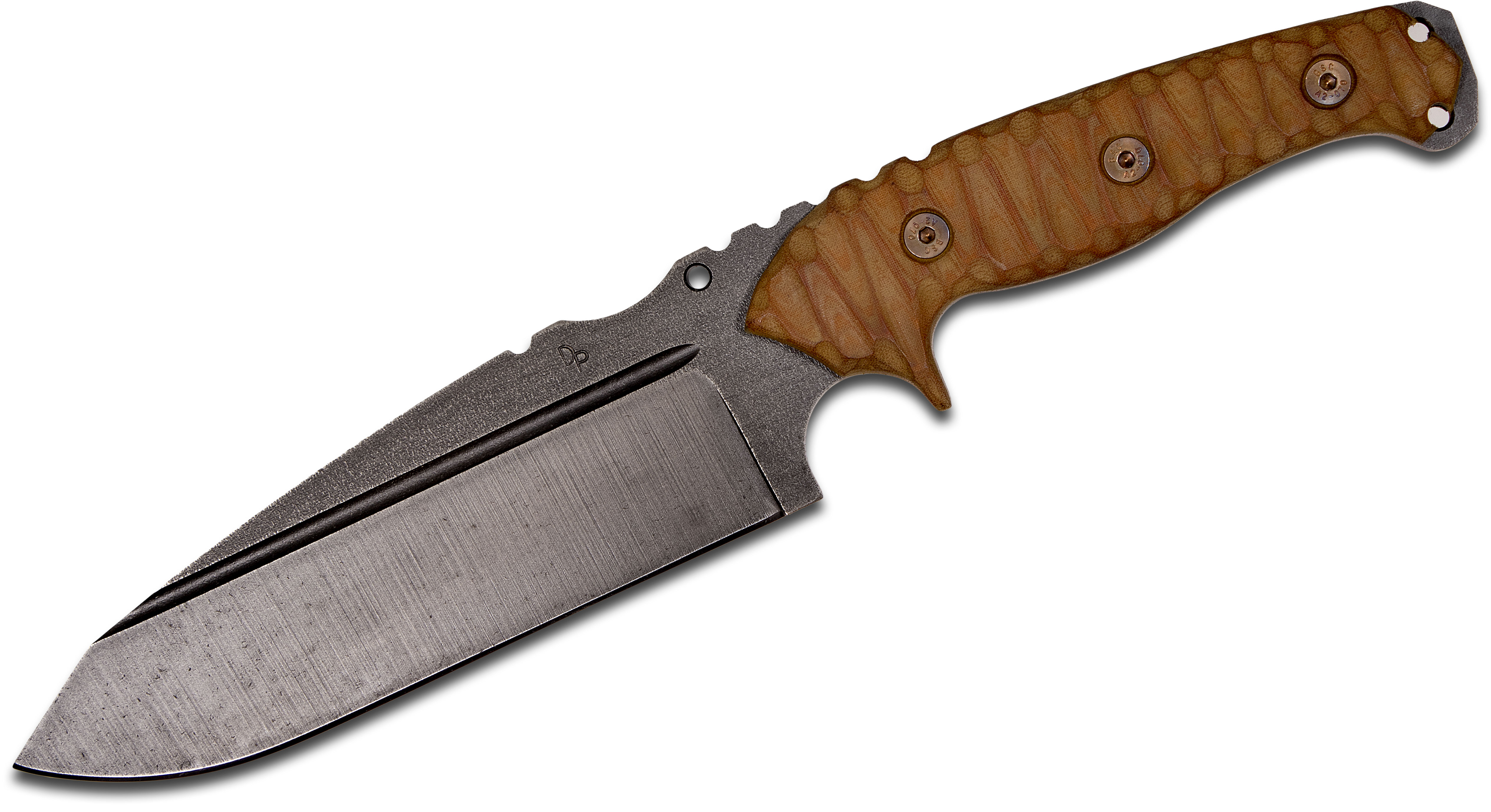Wander Tactical Smilodon Fixed 7.1 inch Raw D2 Blade, Desert Brown Micarta Handles, Thermo-Molded Polymer Sheath