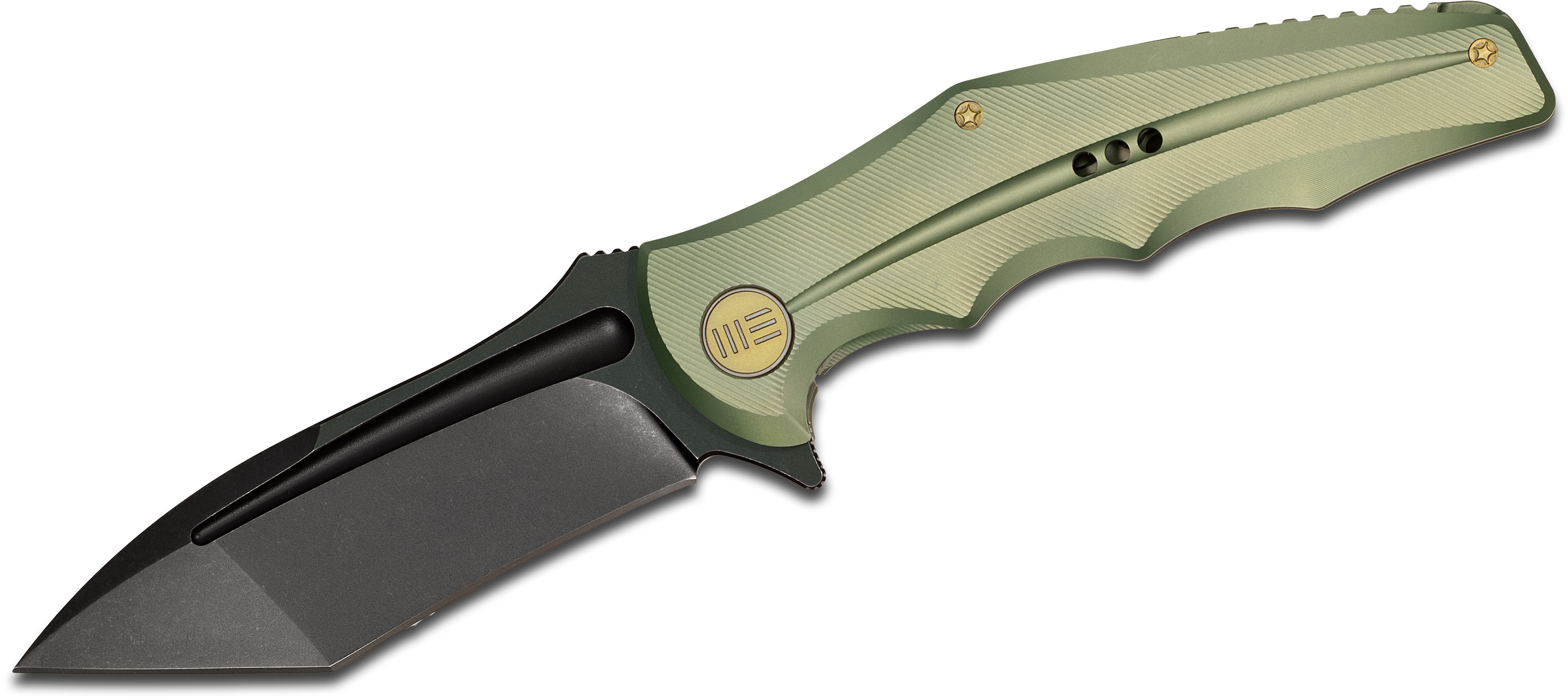 We Knife Company 608A Flipper 3.94 inch S35VN Black Stonewashed Tanto Blade, Green Anodized Titanium Handles