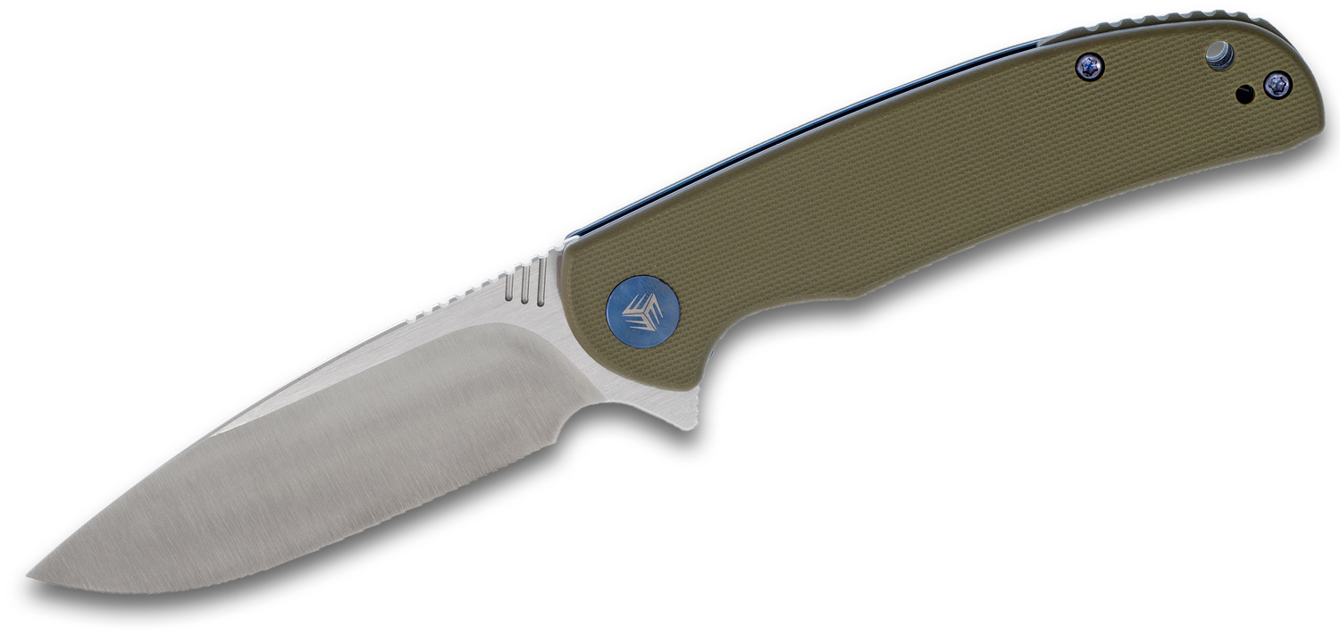 We Knife Company 809A Practic Flipper Knife 3.3 inch M390 Satin Blade, Green G10 Handles