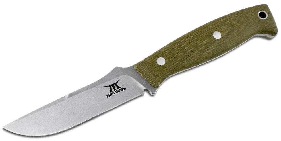 White River Knives Tom Mack Hunt Fixed Blade Knife 4 inch S35VN Stonewashed, OD Green Canvas Micarta Handles, Leather Sheath