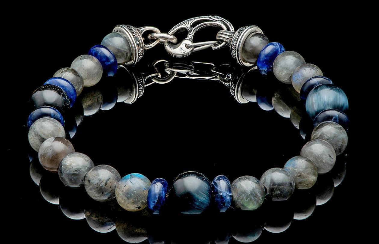 William Henry Magician Bracelet, Labradorite and Blue Tiger, Large