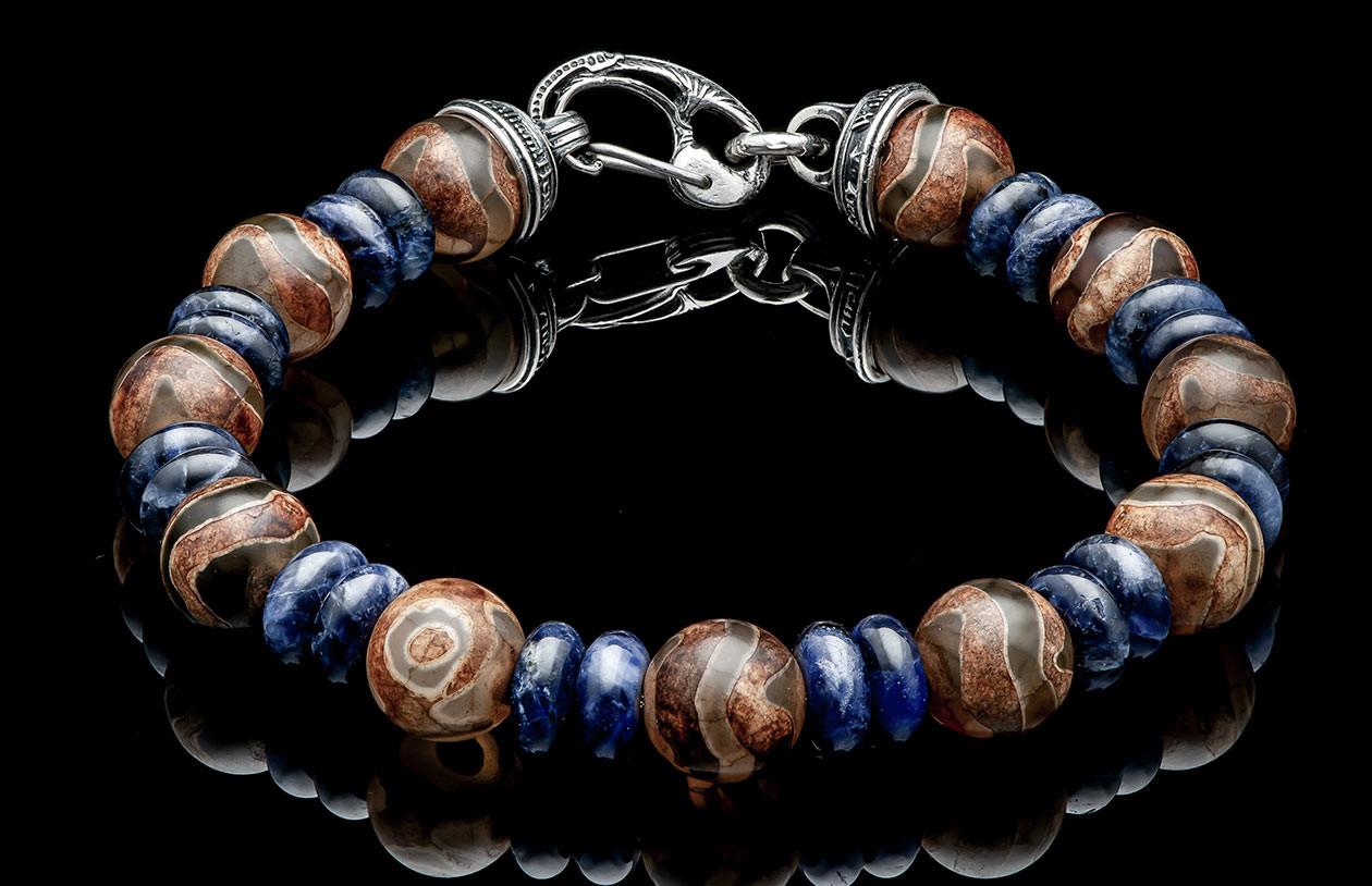 William Henry Enlightenment Bracelet, Tibetan Agate and Blue Sodalite, Large