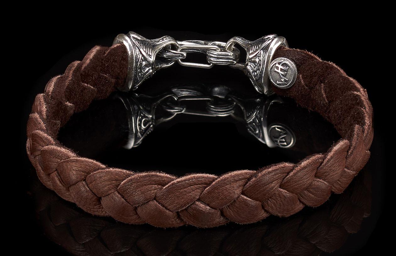 William Henry Brown Hunter Bracelet, Deerskin and Sterling Silver, Large