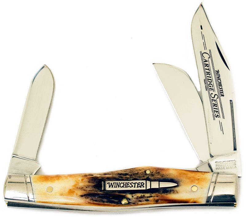 Winchester Cartridge Series Reverse Gunstock Stag, 4-1/4 inch Closed