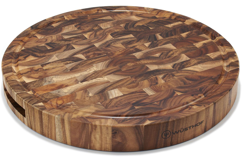 Wusthof Round Acacia End-Grain Chopping Block / Cutting Board 15 inch dia x 1.75 inch